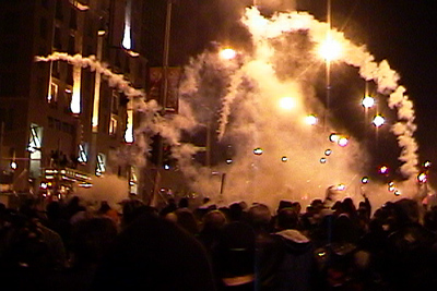 Quebec FTAA protests - teargas attack